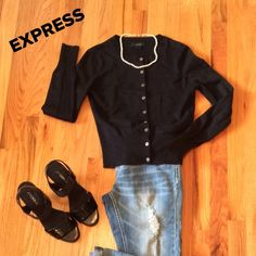 EXPRESS. Lightweight Black Sweater w/Sparkles All season sweater. Lightweight sweater with a hint of silver sparkles. Ribbed waist band and also around sleeve cuff. Excellent Condition!!!  Firm!!!  Bundle and save. Express Sweaters Crew & Scoop Necks