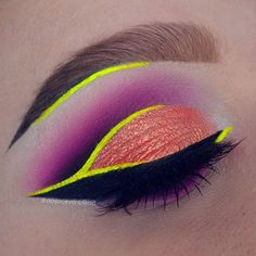 I miss using neons ... PRODUCTS: @suvabeauty Cupcakes and Monsters palette (pink, purple + white), @sugarpill 2am, Dollipop and Bulletproof eyeshadows. Lid colour is @makeupaddictioncosmetics Persian Rose e/s. Yellow liner is @jeffreestarcosmetics Queen Bee liquid lip + @stargazerproducts neon loose dust in yellow (+ mixing medium) over top. Wing is @thebalm_cosmetics Schwing liquid liner. Brows: @anastasiabeverlyhills Blonde + Med Brown dip brow.