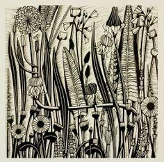'Canalside Meadow' - Linocut by Helen Roddie