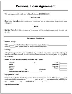 Personal Loan Agreement | Printable Agreements   Private Loan Agreement  Template Free