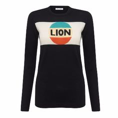 Bella Freud Lion Jumper Stripe in Black and Multi : Merino wool sweater by Bella Freud with Lion badge and stripe and orange 'JAH' intarsia on the sleeve.