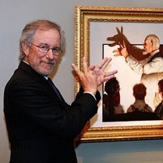 """Steven Spielberg with """"Shadow Artist"""" by Normal Rockwell (collection of George Lucas)  http://tipsrazzi.com/ipost/1510752716584932806/?code=BT3RZdngFXG"""