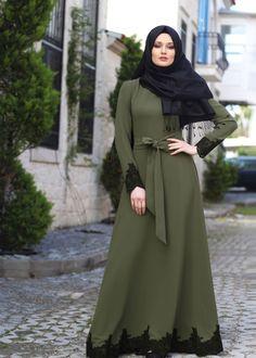 Olive green abaya with black lace border Islamic Fashion, Muslim Fashion, Modest Fashion, Fashion Dresses, Muslim Gown, Modele Hijab, Hijab Fashionista, Abaya Designs, Beautiful Hijab