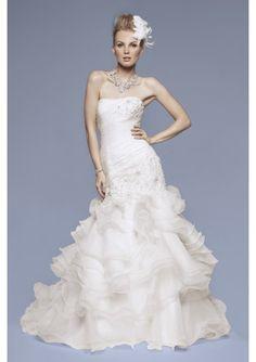 Strapless Embroidered Asymmetrically Mermaid Silky Organza Wedding Dress - Wedding Dresses