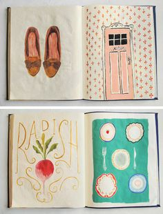 danielle kroll : art journals (makes me think of the plant a radish get a radish song by the fathers in The Fantasticks play or movie) Collages, Sketchbook Inspiration, Art Sketchbook, Illustration Art, Illustrations, Oeuvre D'art, Art Journals, Scrapbooks, Book Art