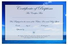 Christian Baptism Certificate Free Template All Ages