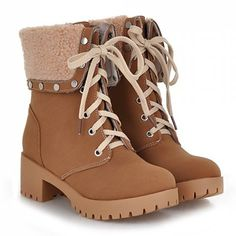 Preppy Turnover and Rivets Design Women's Short Boots