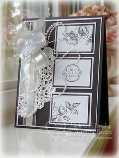 Gorgeous black and white Stampin' Up! card. Excellent anniversary or wedding card.  Little less on bow and pearls