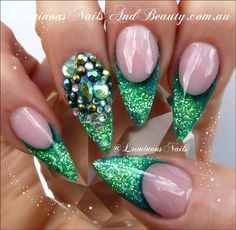 Green with Envy... Glittery Green Nails...