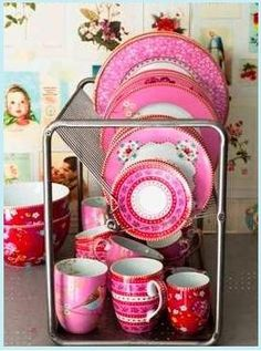 Pink Dishes And Mugs
