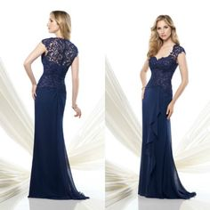 Navy Blue Lace Chiffon Mother of the Bride Dresses Vestido Mae Da Noiva Evening Dress LS091872