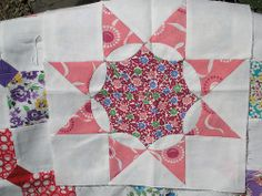 """Frech Star quilt block try out. Ten inch block hand pieced using vintage feedsack prints and modern muslin. Pattern is from the book """"Scrap Quilting Made Easy"""" by House of White Birches 1997 ISBN: 882138-23-6 which I found at Half Priced Books."""