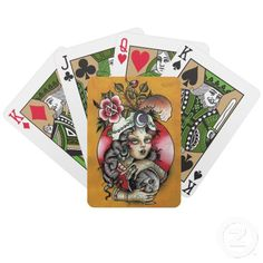 #Tattoo #Fortune Teller with #Snow Globe Bicycle #Card Deck