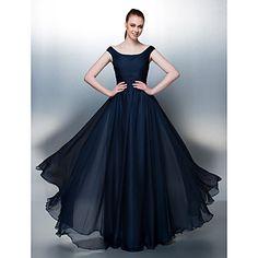Homecoming Homecoming/Formal Evening/Holiday Dress - Dark Navy A-line/Princess Scoop Floor-length Chiffon – USD $ 169.99