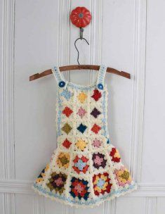 What could be simpler than this delightful little girl's crochet outfit using granny squares. The Granny Square Jumper pattern includes instructions for the Jumper, Hat and Purse. All pieces compliment each other for a fun and creative ensemble. The granny square motifs are made up in a variety of worsted weight yarn colors. Pull out your leftover yard stash for scrappy granny squares, or stick with several colors for a color coordinated look.