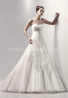 A-Line Strapless/ Sweetheart Floor Length Attached Silky Organza Beading/ Lace Wedding Dress Style Cheyenne