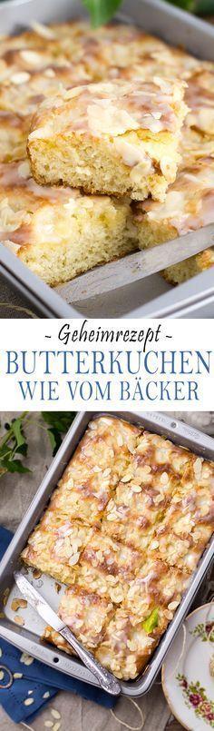 Butter cake like from a baker (secret recipe!) - KüchenDeern - Secret Recipe from german baker for Butter Cake with the best glaze ever Cupcake Recipes, Baking Recipes, Cookie Recipes, Cupcake Cakes, Dessert Recipes, Food Cakes, German Baking, Almond Cakes, Secret Recipe