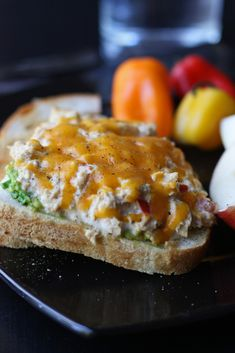 Cheddar Tuna Melts. Added chopped spinach and onions. Good with sun-dried vinaigrette on the side. Also, good over a salad.