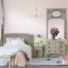"""Casual Glam"" :) - That's for you Jill - pale pink and silver bedroom - chandelier"