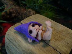 CUSTOM order  tiny ELF baby Polymer clay OOAK art doll  fantasy sculpture. $40.00, via Etsy.