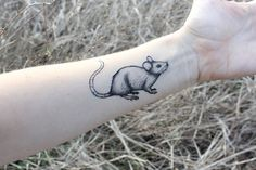 NATURETATS - Mouse Temporary Tattoo, Black Ink, Rat, Rodent, Small Forest Animal Tattoo, Nature Tattoo