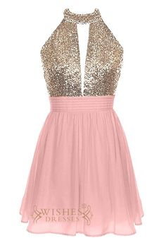 Strapless homecoming dress with keyhole gold sequins bodice and halter top while the back with sexy open back. Floor length is available,Please contact us if you need to change the color or request a