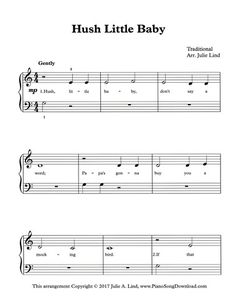 Hush Little Baby, easy piano solo with free PDF sheet music to print.