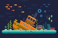 Sea life. Underwater world by TastyVector on @creativemarket