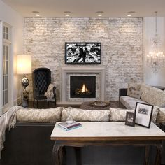 White Washed Brick Fireplace Design, Pictures, Remodel, Decor and Ideas