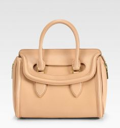 heroine medium leather satchel bag blush alexander mcqueen | Alexander Mcqueen Heroine Small Satchel in Beige (blush) - Lyst