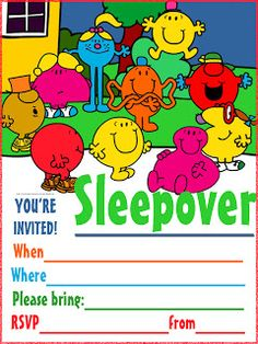 Free sleepover invitation just click on the image to see the invitation full size - then print however any copies you need. last thing to do is to fill in the blanks with details of your own party like when and where it will take place...and send them out to your friends or hand them out at school. Have fun at your pajama party