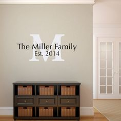 Last Name, Initial and Est. Date Wall Decal is available in the colors of your choice. See the color chart for your options. Colors pictured are White and Black. The photographs are for a reference be sure use the measurements when ordering. Size - 35 wide by 16 high (width