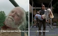 The events of the second half of Season 4, from the prison being stormed to the group finds Terminus, took place over just 8 days, and the events of the entire first half of Season 5 took place in just four days. Basically Maggie lost her entire remaining family in less than two weeks.