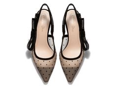 8e3eaca4391 J Adior slingback in nude and black dotted swiss and rhinestones - Shoes -  Woman