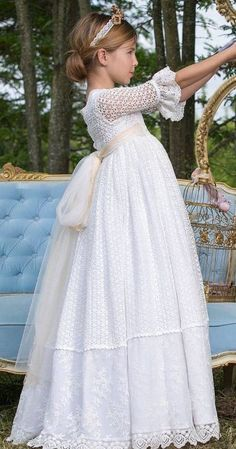 New Knitting Dress Kids Christening Gowns 31 Ideas Baby Girl Party Dresses, Wedding Dresses For Girls, Little Girl Dresses, Baby Dress, Girls Dresses, Flower Girl Dresses, Girls Communion Dresses, Baptism Dress, Christening Gowns