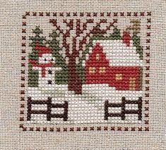 Free Cross Stitch Patterns - A Cross Stitch House, Xmas Cross Stitch, Cross Stitch Christmas Ornaments, Cross Stitch Cards, Simple Cross Stitch, Christmas Embroidery, Cross Stitching, Cross Stitch Embroidery, Embroidery Patterns