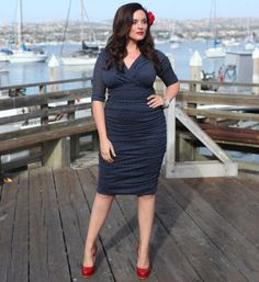 Plus Size Navy Polka Dot Ruched Sleeved Wiggle Betsey Cocktail Dress - Unique Vintage - Cocktail, Pinup, Holiday & Prom Dresses.