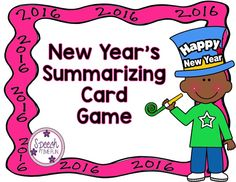 Speechie Freebies: New Year's Summarizing Card Game!Pinned by SOS Inc. Resources. Follow all our boards at pinterest.com/sostherapy/ for therapy resources.