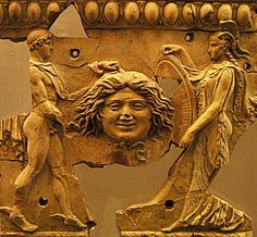 Athena, Perseus and Medusa, relief terracotta statue - from imperador Augustus period, Roman culture Historical Artifacts, Ancient Artifacts, Ancient Rome, Ancient Greece, Perseus Und Medusa, The Gorgon's Head, Roman Sculpture, Roman History, Terracota