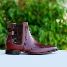 Handmade Burgundy Chelsea Triple Boots, Simple Desert Boots, Men Chelsea Boots - Dress/Formal