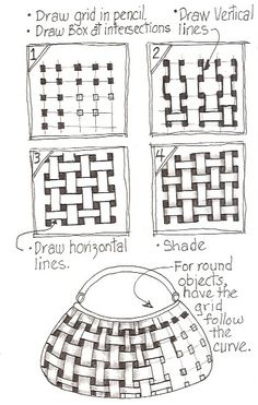 Basket weave tangle pattern - step-by-step