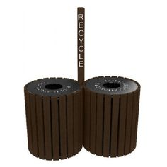 Polly Products 98 gal. Double Round Recycle Center Brown - ASM-2RT49-01-BN