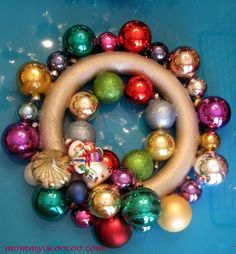 tutorial: How to Make a Christmas Ornament Wreath with a Foam Wreath Form...perfect project for using dollar store ornaments, or the big bargain bins of ornaments from Walmart or Target