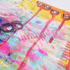 mixed media/art journaling using a Gelli Plate and mark making.