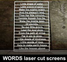 WORDS laser cut metal screens. Cusstom made screens with words