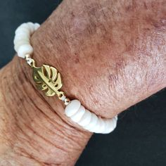 Lovely Monstera Leaf charm (Gold Filled) connected to Natural Hawaiian Puka Shells gathered from the shores of Kauai Island. Shell Bracelet, Shell Jewelry, Small Gift Boxes, Small Gifts, Father's Day Specials, Hawaiian Jewelry, Mermaid Jewelry, Cute Gifts, Delicate