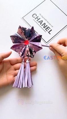 Cool Paper Crafts, Paper Flowers Craft, Paper Crafts Origami, Fun Diy Crafts, Flower Crafts, Creative Crafts, Instruções Origami, Diy Gifts, Paper Art