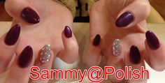 Almond Matt purple nails  with bling accent finger :)