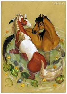 Spirit and Rain beautiful Horse art ♥️♥️♥️ Spirit The Horse, Spirit And Rain, Horse Drawings, Cute Drawings, Animal Drawings, Arte Equina, Pinturas Disney, Cute Disney Wallpaper, Equine Art