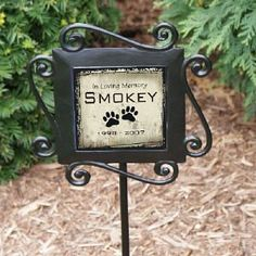 "Pet Memorial Garden Stake . $24.98. Personalized Pet Memorial Garden Stake - Personalized Pet Memorial Gift This Pet Memorial Garden Stake is a unique way to mark any special tree rosebush or beautiful garden with the memory of a beloved pet. Your Personalized Pet Memorial includes Heavy duty wrought iron stakes which are 28"" h x 8.5""w with a 4.25"" ceramic tile insert. Tiles may fade with weather & excessive sun exposure. Includes FREE Personalization. Personaliz..."